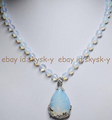 - 8mm Faceted SriLanka Moonstone Gems Round Beads White Pendant Necklace 18
