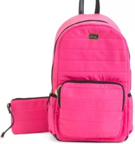 BETSEY JOHNSON Backpack Quilted Fushia/Black Travel Bag & Wr