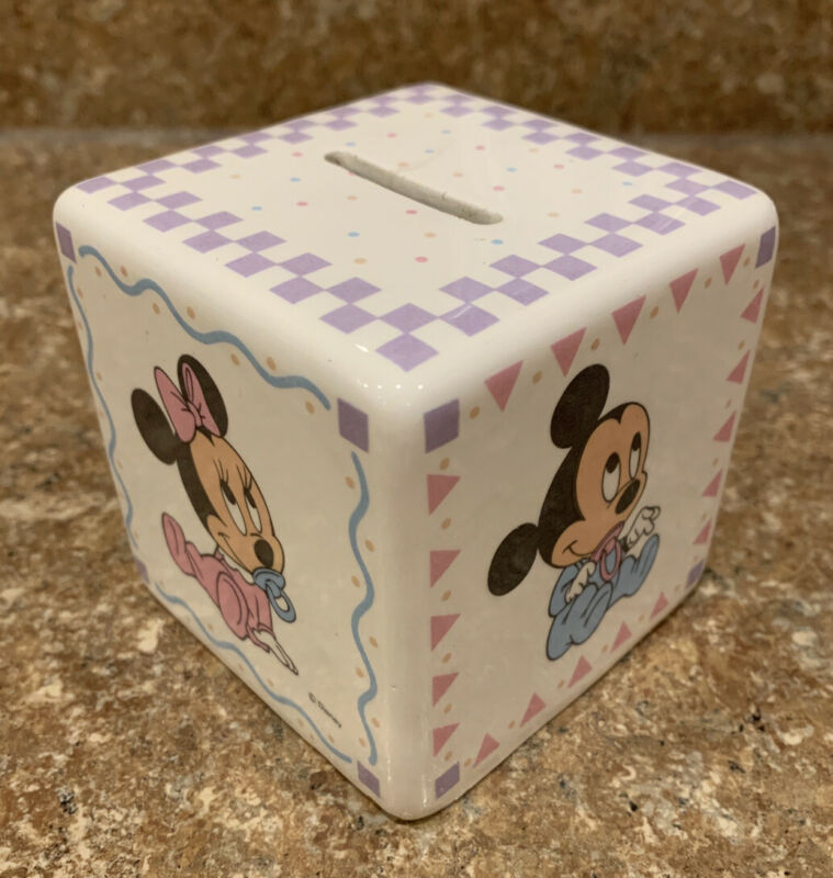 Disney Baby Block coin bank minnie mickey mouse