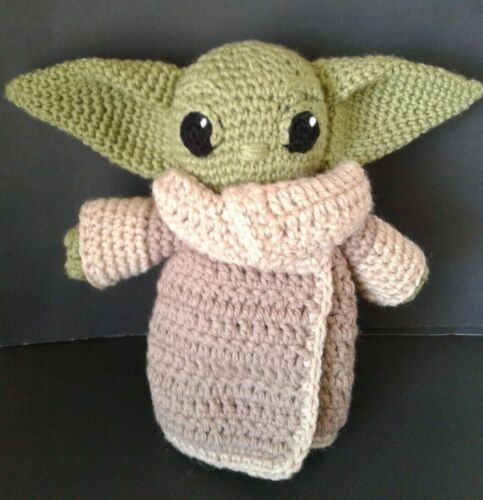 BABY YODA INSPIRED HAND CROCHETED DOLL -- 8.5 INCHES TALL - 11 INCH EAR SPAN