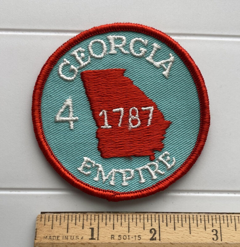 Vintage Georgia The Empire State 4th US State 1787 Round Embroidered Patch