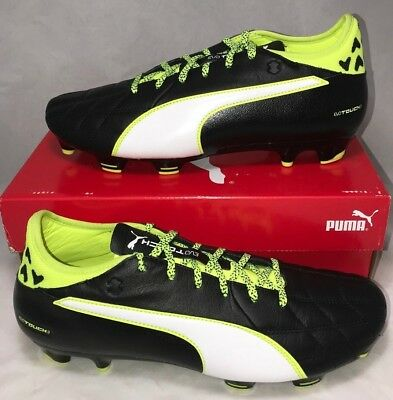 96478ff85 Puma Mens Size 10.5 Evotouch 3 FG Leather Soccer Cleats Black Safety Yellow