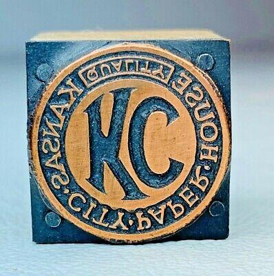 Antique Copper Letterpress Printer Wood Block Kansas City Paper House Logo