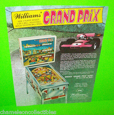 GRAND PRIX By WILLIAMS 1977 ORIGINAL FLIPPER PINBALL MACHINE PROMO SALES FLYER