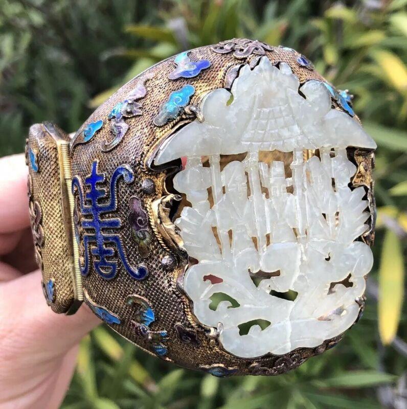 Old Chinese Gilt Silver Enamel Carved 3 God