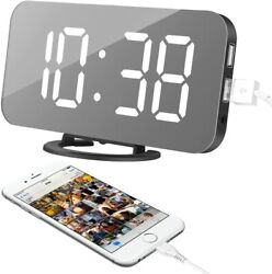 Large LED Digital Dual Alarm Clock with 2 USB Charging Ports Easy Snooze Bedroom