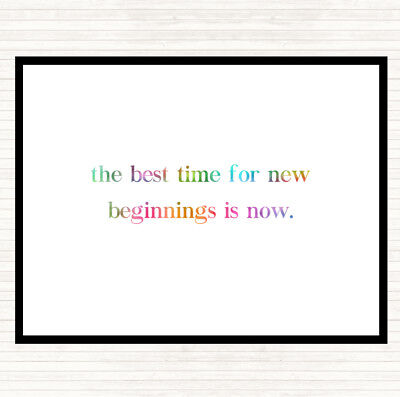 Best Time For New Beginnings Rainbow Quote Mouse Mat