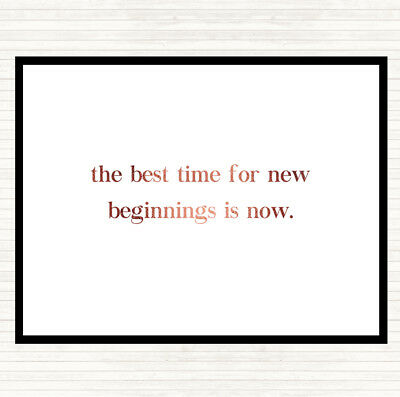 Rose Gold Best Time For New Beginnings Quote Mouse Mat