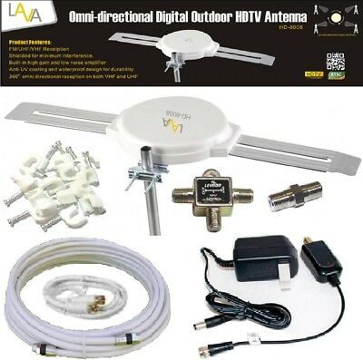 LAVA HD-8008 360 DEGREES HDTV DIGITAL AMPLIFIED OUTDOOR TV ANTENNA HD VHF CABLE
