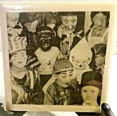 VINTAGE Kid Halloween Costume Pic CERAMIC TILE Display Art By LEM No 328     - Vintage Halloween Pics