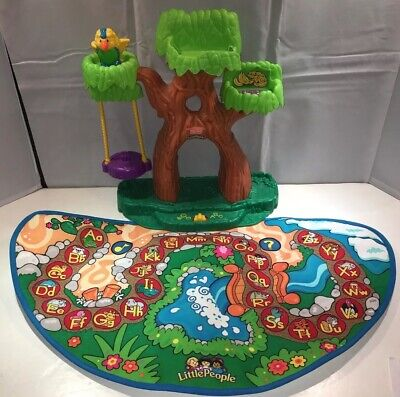 Fisher Price Little People ABC Alphabet Zoo Animal Tree House & Mat Only WORKS!