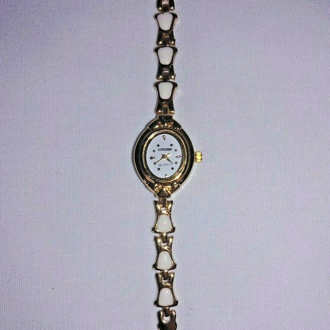 Citizen Women s Vintage Gold Elegant Ivory Linked Band Oval Watch RARE UNIQUE - $4.99