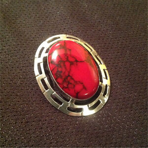 """Sterling silver 2.5"""" large statement.  Red coral pendant .925"""