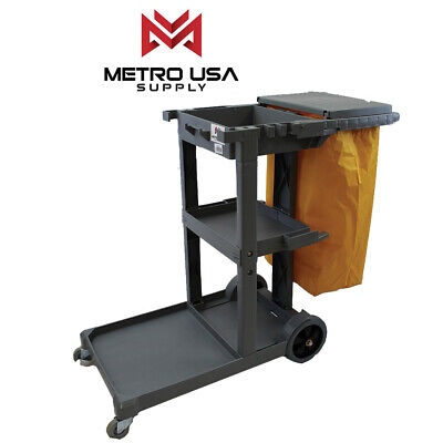 Gray Commercial Janitorial Cleaning Cart Janitor Uitility Cart3 Shelvesviny