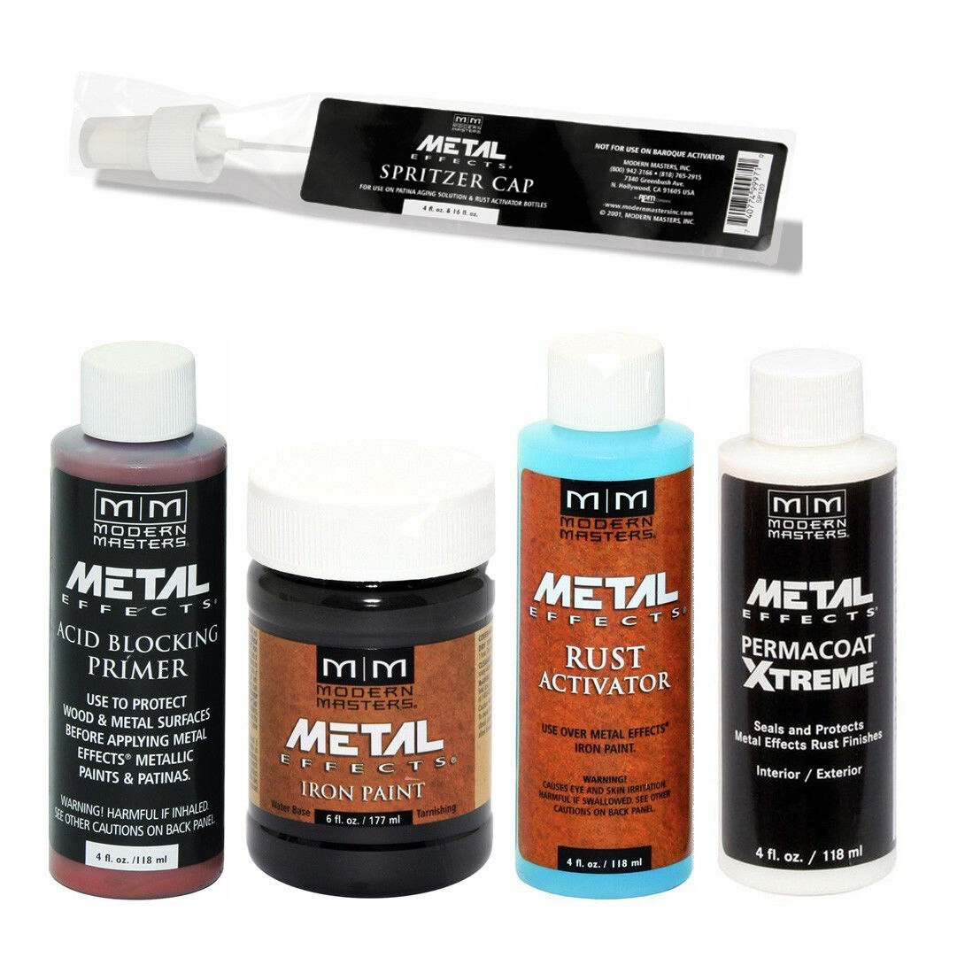 Modern Masters Metal Effects Iron Paint & Rust Activator 4oz Kit + PermaCoat Building & Hardware