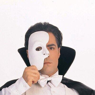 Half Face Halloween Male (Phantom of the Opera Half Mask Blank Male Costume Face White Mask Halloween)