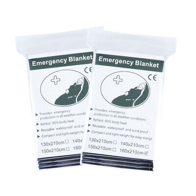 2 Pack Emergency Solar Blanket Packets Insulating Thermal Heat Survival Gear