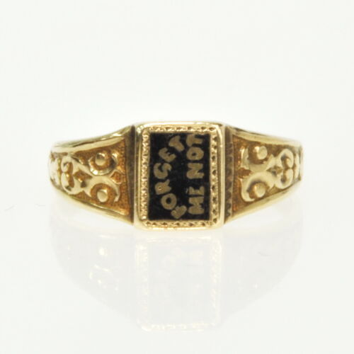 ANTIQUE Victorian Enameled 14k Gold Forget Me Not Mourning Child Infant Ring