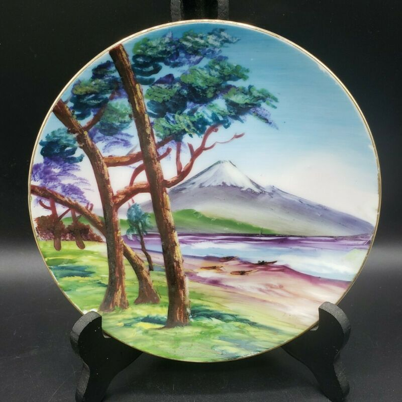 """Hand Painted Wall Hanging Plate Outdoors Scene Landscape w/Mountain Art 7-1/4"""""""