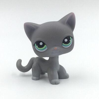 Gray Kitten (Littlest Pet Shop Toy LPS cat #126 gray kitty with blue Eyes rare short hair)