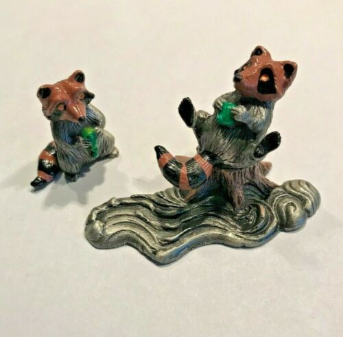 PEWTER IMAGE 3 PIECE RACCOONS & STUMP FIGURINES PAINTED PEWTER