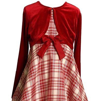 Girls' Bonnie Jean Plaid Taffeta Dress & Velvet Bolero (cardigan, shrug) Set  - Girls Velvet Shrug