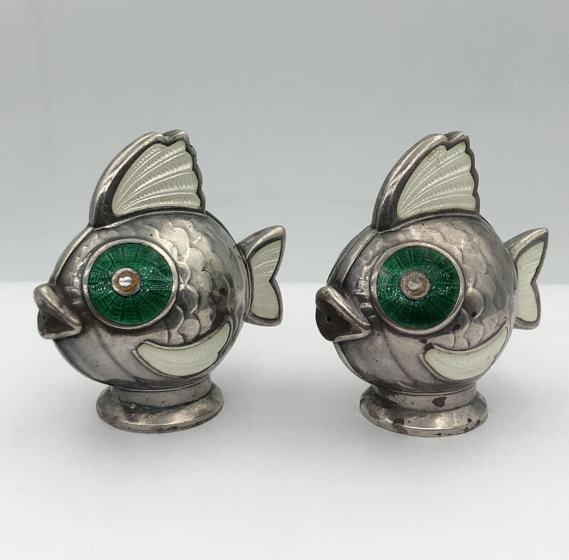 Vtg Meka Modernist Denmark Sterling Silver Enamel FISH Salt & Pepper Shakers