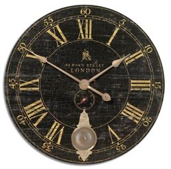 Bond Street Distressed Crackled Black Wall Clock Brass Pendulum Weathered 30