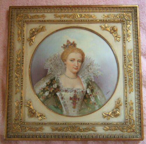 """Antique Porcelain Plaque Framed Portrait Signed Fabulous Limoges KPM 12"""""""