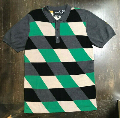 New RAF SIMONS x FRED PERRY Mens Intarsia Wool Argyle Polo Sweater Sz M Rare