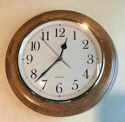 12 Inch Oak Quartz Battery Operated Wall Clock For Home Office School Decor