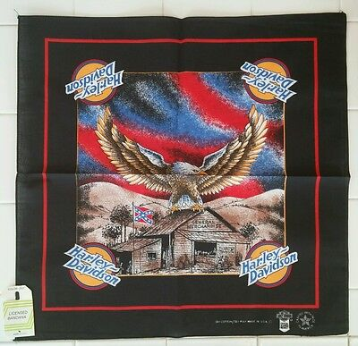 Vtg Harley Davidson Eagle Rebel Bandana Handkerchief New Black NWT