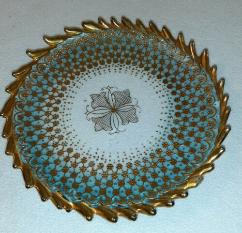 Antique  Moser Art Glass Plate Blue to Clear Heavy Gold AC#20693