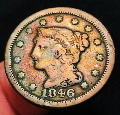 1846 US Large Cent Matron Braided Hair 1C Small Date Type US Copper Coin CC1493