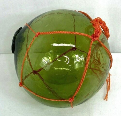 Large Japanese Green Glass Fishing Float Ball