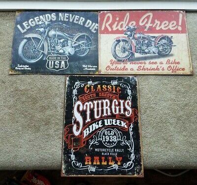 Lot Of Sturgis Bike Metal Tin Sign Garage Man Cave Wall Decore Motorcycle