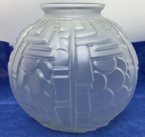Vintage c1930 Art Deco Glass Globe Vase Geometric Scales Made in France MCM