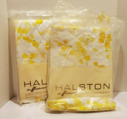 Vintage Halston Quilted Flower Pillow Shams. Set of 2 New NIP Fieldcrest
