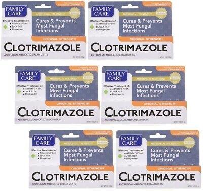 Medicated Antifungal - 6 Family Care Antifungal Medicated Cream USP 1% Clotrimazole 1 oz ea Exp 12/2020