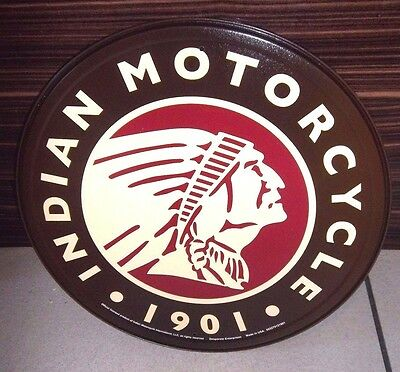 "INDIAN MOTORCYCLES LOGO  , ROUND 12"" METAL WALL SIGN,USA, PUB/BAR/ MAN CAVE/DEN"
