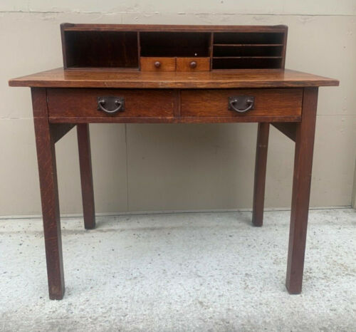 Antique Gustav stickley postcard desk #720 mission oak table craftsman label
