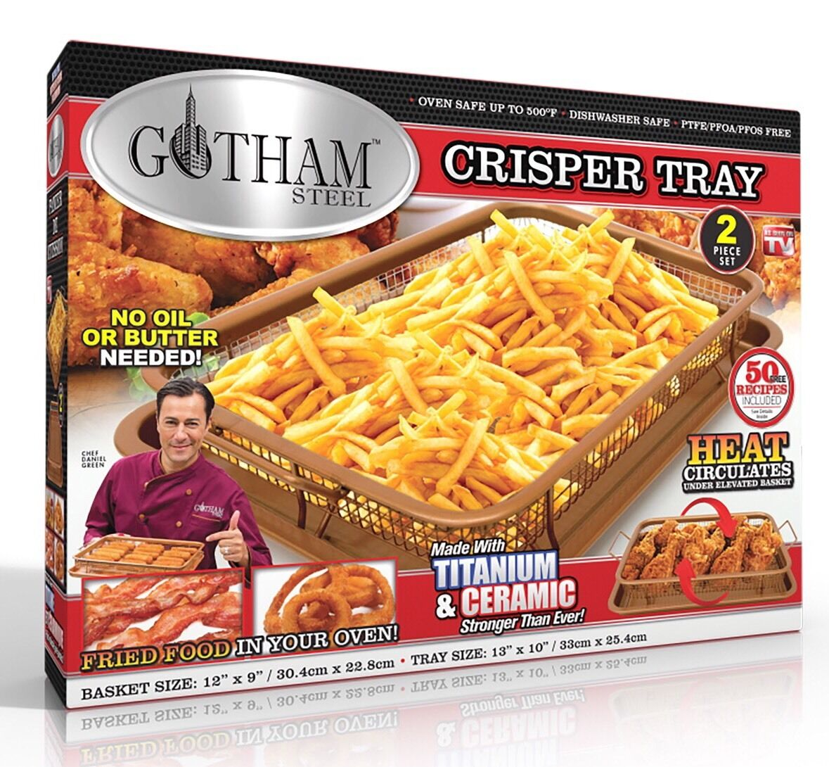 Gotham Steel Copper Crisper Tray - AIR FRY IN YOUR OVEN - As Seen on TV - NEW! 3