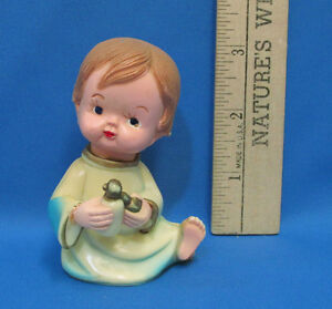 Vintage 1972 wilton baby boy perfume cake topper party favor barefoot brown hair - Wilton baby shower cake toppers ...