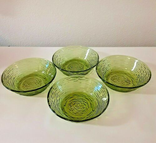 "Set of 4 Vintage Anchor Hocking Green Avocado Glass Soreno 6"" Bowls"