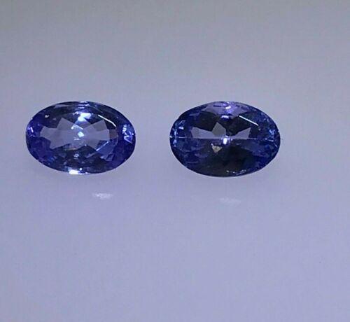 1.16ctw Loose pair of AA Genuine Tanzanite Oval Gemstones 6 x 4 mm