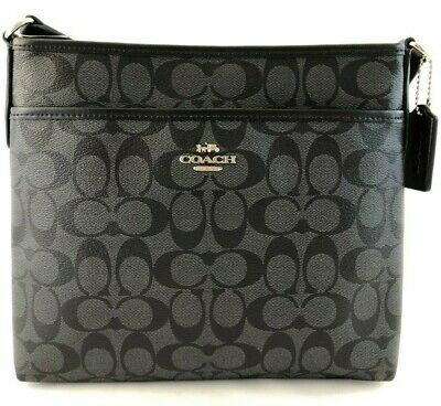New Authentic Coach F29210 File Bag Crossbody Messenger Handbag Purse Black/BLK