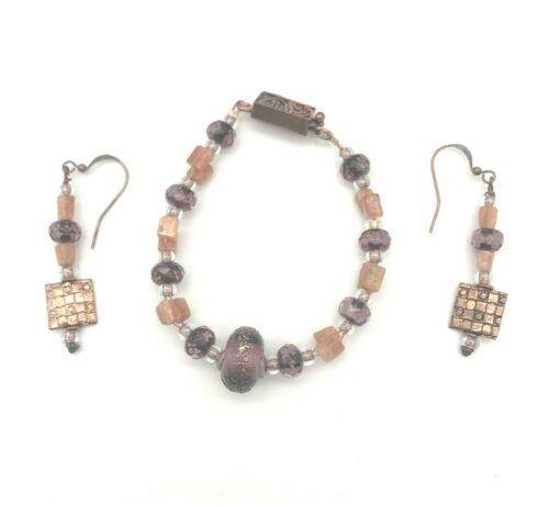 Artist Fashion Jewelry Copper Charm Purple Beads Stone  Bracelet Earring Set