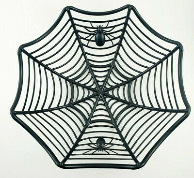 Spider Themed Halloween Party (Spider Web Party Bowl Black Plastic Candy Basket Cool Punk Rock)