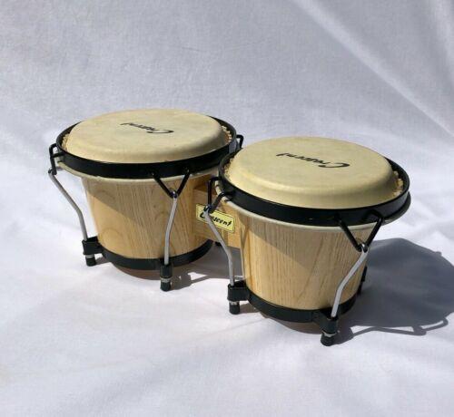 "Authentic Natural Wood Bongos Set 7"" and 6"" Bongo Drums"