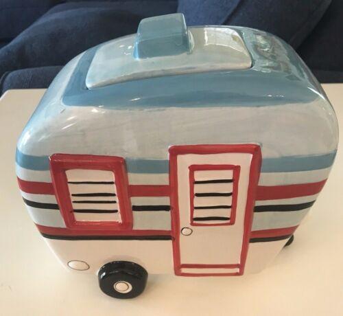 SPRING Super Cute Ceramic Camper Trailer Cookie Jar